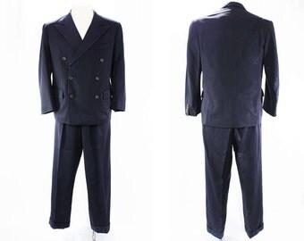 1940s Gabardine Men's Suit - Size Medium - Chest 42 - Authentic 40s Mens Navy Blue Wool - Double Breasted Gangster - Peak Lapel - 45764