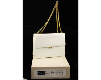 1950s White Leather Bag - Unworn Deadstock Purse in Original Box - 50s Handbag with Chain Strap - Gorgeous Quality from Coblentz - 48060
