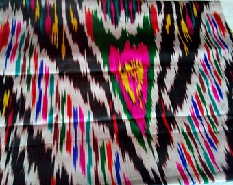 Uzbek vintage silk ikat fabric Han atlas 3 meters. VI005