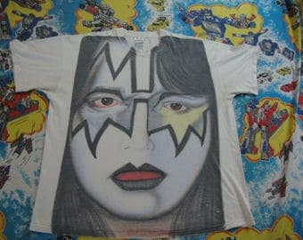 Vintage ACE FREHLEY of KISS frehley's comet All Over print Heavy Metal Concert Tour 80's T Shirt Size L