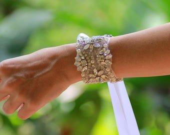 Crystal and Milk Opal Beaded Bridal Cuff, Crystal Wedding Cuff Bracelet, White Opal Crystal Bracelet,  SERENA