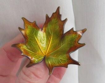 Norwegian Hroar Prydz  Sterling SILVER  Enamel Leaf BROOCH