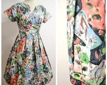 1950s Flower print cotton day dress / 50s pleated skirt novelty print floral summer dress - S