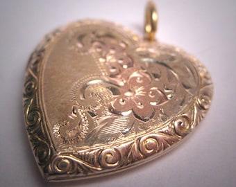 Antique Gold Heart Locket Vintage Victorian Necklace Art Deco Engraved Rose Gold 1920