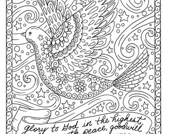 christmas coloring page dove christian scripture adult digi stamp coloring book - Christian Coloring Pages For Adults
