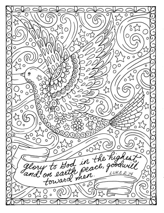 adult religious coloring pages | Christmas Coloring page dove Christian Scripture Adult Digi