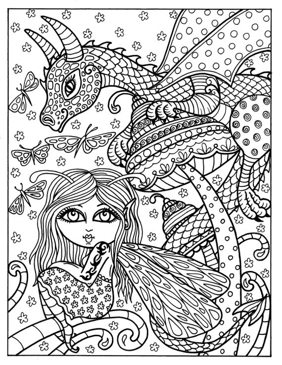 fairy tail coloring pages for adults | Fairy and Dragon Instant download Adult coloring fantasy art
