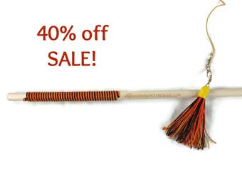 32 Inch Tassel Teaser Cat Wand Toy - Hemp Cat Toy - All Natural - Black, Orange, Yellow - Save 40%