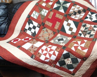 Handmade Quilt Patchwork Quilt Traditional Quilt Rust and Hunter Green Quilt Wedding Gift Made in USA