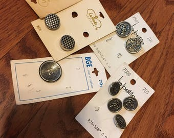 Five cards of Silver-finish Buttons 1960s