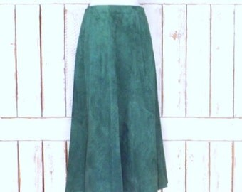 Vintage green suede leather aline high waist maxi skirt/long green suede skirt