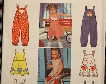 Girls Toddler Size 2 3 4 Simplicity 7157 Dress Romper  Kids Child Children Sewing Pattern Sew Uncut