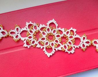 Woman bracelet Tatting lace bracelet Gift for her White wedding bracelet for bride Tatting jewelry Woven Bracelets Lace bangle Boho chic