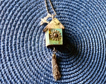 OOAK Birdhouse Necklace, Handmade, Multi-color, from Bluebird Creations, Item #2009