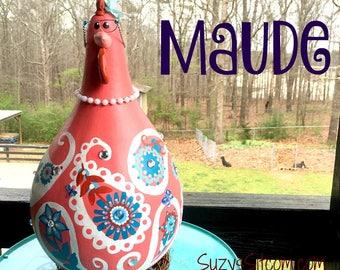 chicken, hen, rooster, bird, funny, gourd, gourd art, painted gourd, paisley, peach, orange, blue, decoration