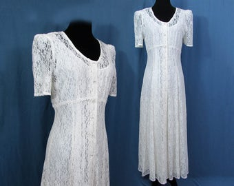 White Lace Midi Dress over full slip - glass button front - lacy party dress - 1980s - S-M