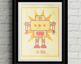 Vintage Style Robot Children's Wall Art Print - NurseryDecor - Robot Artwork - Boys Birthday Gift