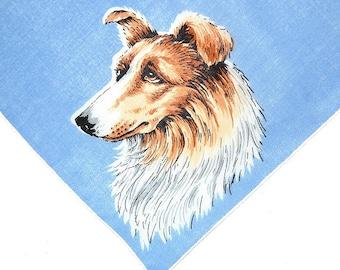 VINTAGE DOG HANKIE, Standard Collie on China Blue Field Amber Fur White Mane Linen White Hand Rolled Hem Excellent Condition Canine Dog Pet