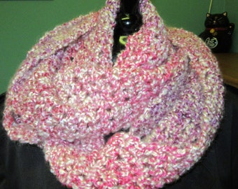 Pink, Infinity, Scarf, Extra Long, Circle, Loop, Cowl, Crochet, Survivor, Casual, Oversize/Chunky/Thick Yarn, Neckscarf, Summer, Gift, USA