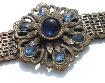 Blue Glass Flower Bracelet Extra Wide Dark Silver Tone Mesh Style Band - Huge Statement Piece Vintage Jewelry 1930s Art Deco Era