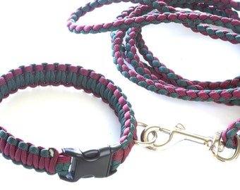 Pet Collar and 6 Ft Leash Combination Dog Collar Burgandy and Green 550 Paracord Puppy Collar Dog Collar Can be Personalized with Dogs Name