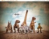 BLACK FRIDAY SALE Dinosaurs on the Run on Vintage Sky, Photo Print , Boys Room Decor, Dinosaur Art, Dinosaur photos, Dinosaur Prints