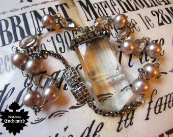 Madonna Enchanted antique crystal necklace Art Deco faux pearl wire wrapped open back link jewelry one of a kind assemblage