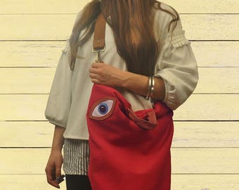 Handmade convertible ,backpack,shoulder ,cross body bag ,in red canvas-leather,named MATI