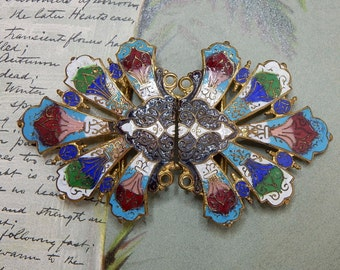 Antique 2 pc. Cloisonné Coat Clasp or Belt Buckle