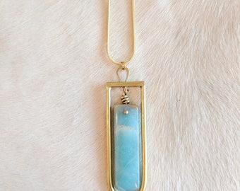 Amazonite and Brass Necklace - amazonite necklace - gemstone necklace - modern necklace - pendant necklace - boho - bohoemian necklace