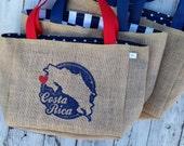 RESERVED FOR CHRISTINE 5 Punta Cana Vintage Stamp - Custom Destination Welcome Wedding Tote Beach Bags - Handmade