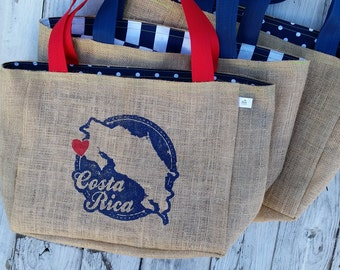 5+ Costa Rica Country Outline Vintage Stamp - Custom Destination Welcome Wedding Tote Beach Bags - Handmade