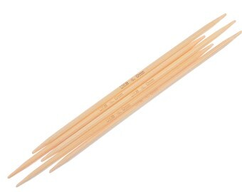 """50 pcs. Natural Bamboo Double Pointed DP Knitting Needles - 5 7/8"""" - 15cm - UK Size 8 - 4mm"""