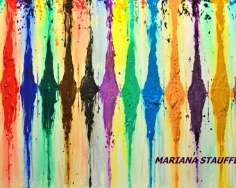 "ABSTRACT painting on canvas milticolor original textured mixed media colorful wall art 24x36"" by artist Mariana Stauffer"