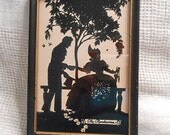 RENDEZVOUS SILHOUETTE PICTURE Romantic Lovers on Bench Under Leafy Tree Birds Roses, Vintage Framed Reverse Painting 1920s 5 x 7