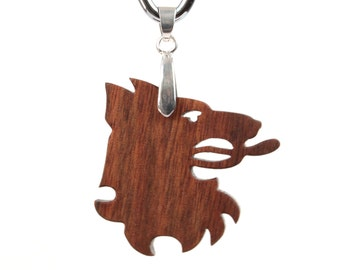 Heraldry Jewelry, Heraldic Beast Necklace, Wood Heraldic Wolf Pendant, Wooden Pendant Necklace, Hand Cut