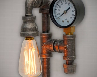 """Adorable """"Miniature"""" 11"""" tall Steampunk Industrial Pipe Lamp with 40W Edison Filament Bulb, Dimmer, and Pressure Gauge"""
