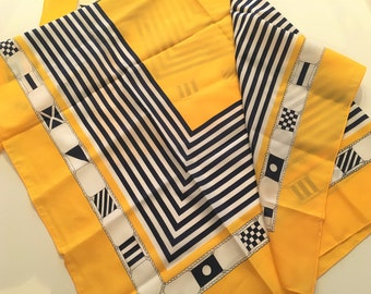 Vintage Scarf Nautical Yellow Navy Blue 80s Chic