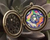 Seasons - Birth Art Mandala Aromatherapy Locket - midwife, doula, goddess, pregnancy