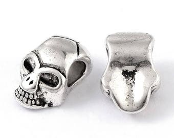 Skull Beads, Extra Large Hole, Antique Silver Metal, 12x8x6mm, 4mm Hole, Lead Free, Nickel Free, Lot Size 10 to 30, #1578 BH