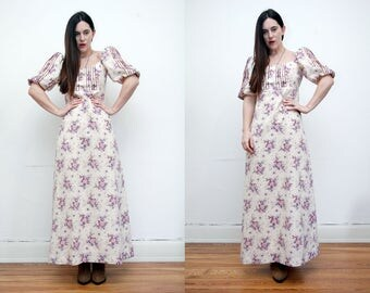 Vintage Quad Floral Cotton Maxi Dress RARE 70'S
