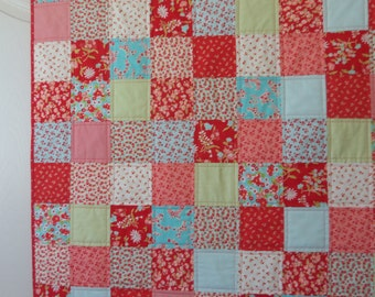 Baby, Toddler Quilt, Red and Aqua,