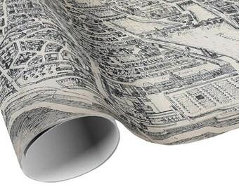 READY TO SHIP - Vintage Plan de Paris Gift Wrap - Paris France City Map Wrapping Paper - Gift Paper - Craft Decoupage Paper - Collage Paper
