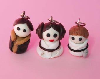 star war chibi Leia, Ham solo, Luke Skywalker miniature charms