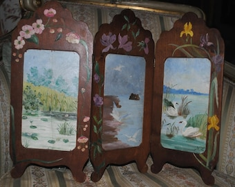 Antique French DOLL SCREEN or Photo frame Hand painted