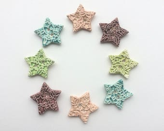 Star Buttons, Ceramic Buttons, Pink Buttons, A Pair of Buttons, Sew on Buttons, Handmade Buttons, Baby Pink, Sewing Buttons, Knitting.