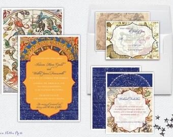 Vintage Star/Constellation/Night Sky/Map Wedding Invitations - Planetarium Wedding - Romantic, Antique Starry Night, Celestial