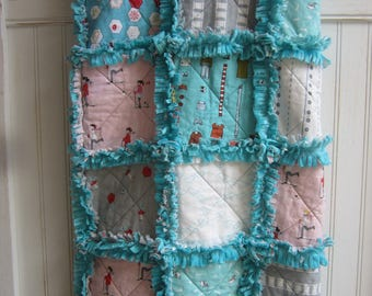 Girls Minky Rag Quilt,,,,,, Cuddle Quilt.......Ready to Ship......40X46