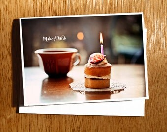 Birthday Cake with Candle Card, Make A Wish Birthday Card, Happy Birthday Card, Cute Spongecake Birthday Card, Cup Of Tea Birthday Card,