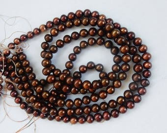 5-6mm   Brown   freshwater potato pearls, roundish , FULL STRAND